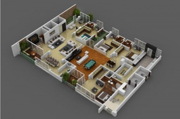 4 Bedroom House Map 3d   Restaurant Interior Design Drawing     4 bedroom apartment house plans rh home designing com 4 Bedroom House Floor  Plans 4 bedroom