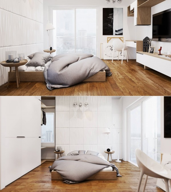This first room features a simple, low profile bed with lots of clean, white details. The wall behind the bed has a unique wavy texture which turns it into a cool makeshift headboard.