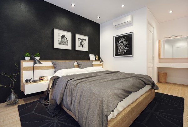 The dark colors spill into the bedroom in this option, as well, with a black textured wall and area rug.