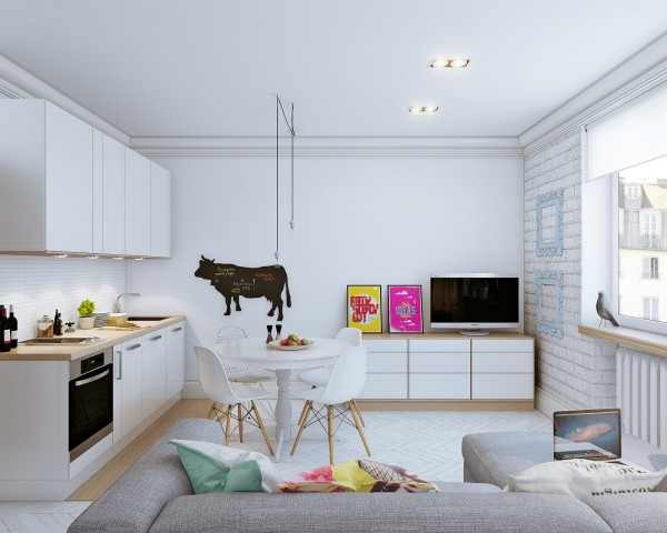 The first apartment comes from designers Vjacheslav Zhugin and Olga Ursulenko.