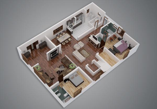 25 Two Bedroom HouseApartment Floor Plans