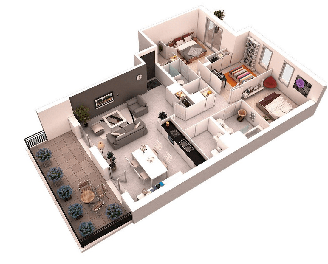 3 Bedroom House Designs 3d Bedroom Apartment Bedrooms And 3 Bedroom House On Pinterest Small 25 More 3 Bedroom 3d Floor Plans Apartment Apartment Home Design Home Interior And Design Ideas