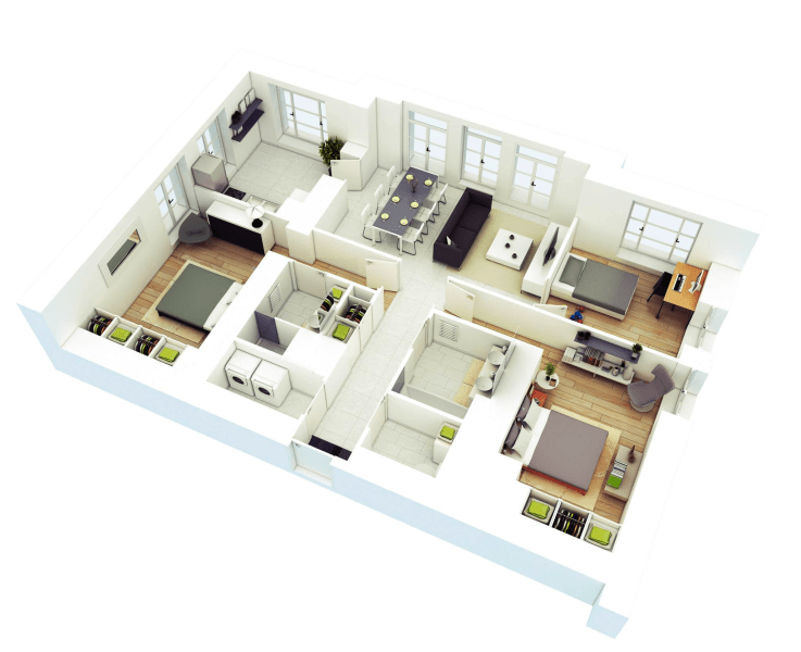 3 bedroom house plans 3d   Maribo intelligentsolutions co 3 bedroom house plans 3d
