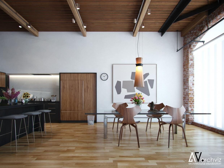 Exposed Wood Beam Dining Room Interior Design Ideas
