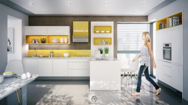 The pops of yellow in the cabinets and backsplash of this kitchen make it extra welcoming.