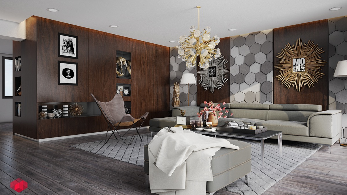 These hexagonal 3D wall panels look fabulous in grayscale. Rich wood tones add warmth and contrast to the monochromatic theme, and each panel provides a stunning canvas for artwork and decoration.