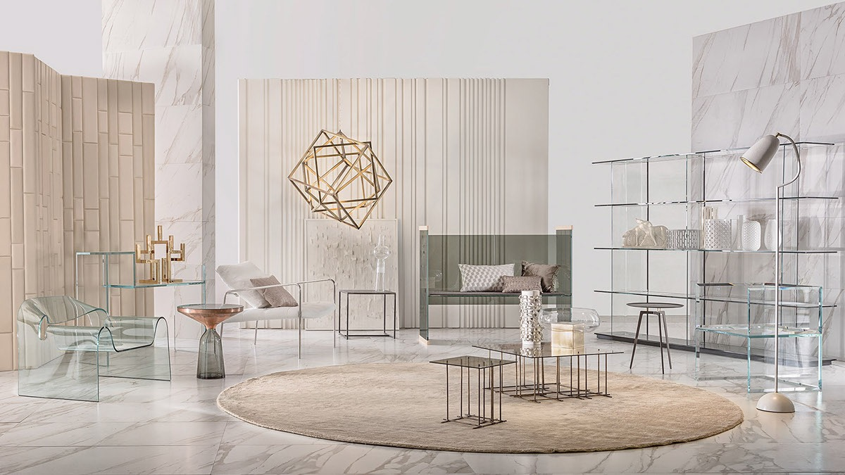 Soft cream-colored slats, varied pinstripes, and elegant marble form an ethereal combination. Each selection is perfect for a modern or classical living room.