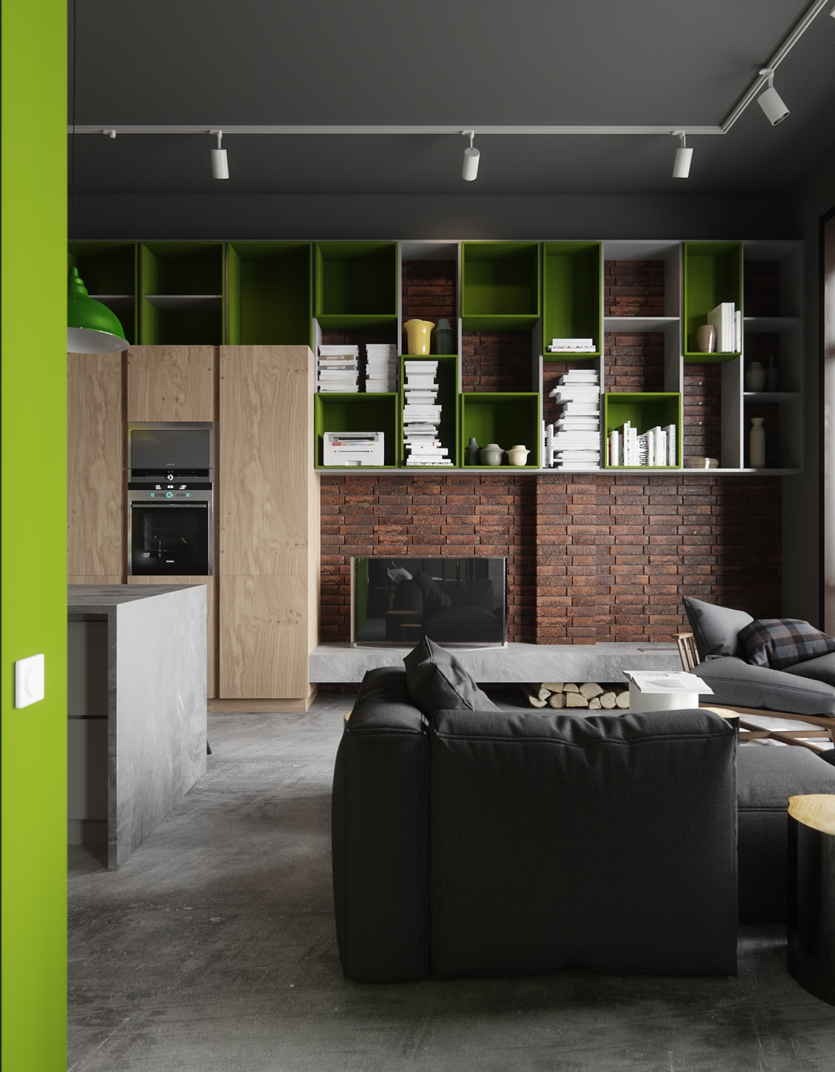 Modular storage units in green and white add fresh modern appeal to this industrial brick and concrete living space. The books are arranged without binding showing - a favorite staging technique for minimalistic spaces.