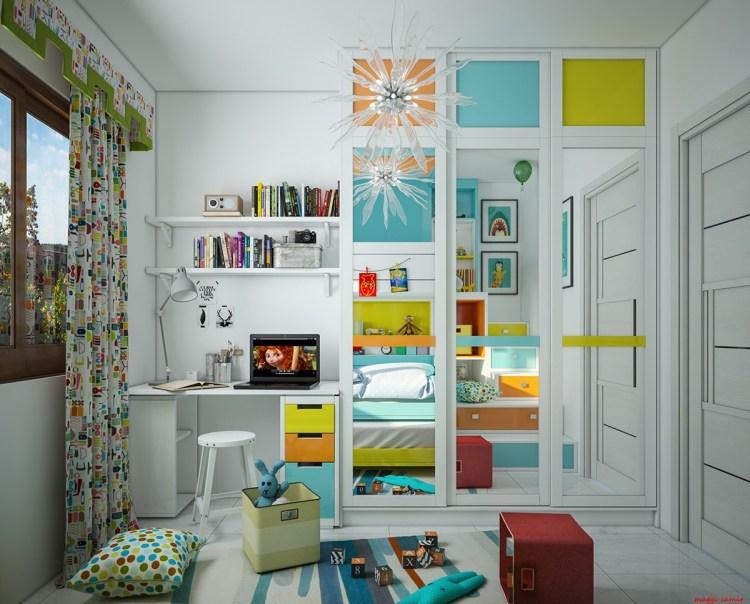 Green Orange Blue Bedroominterior Design Ideas