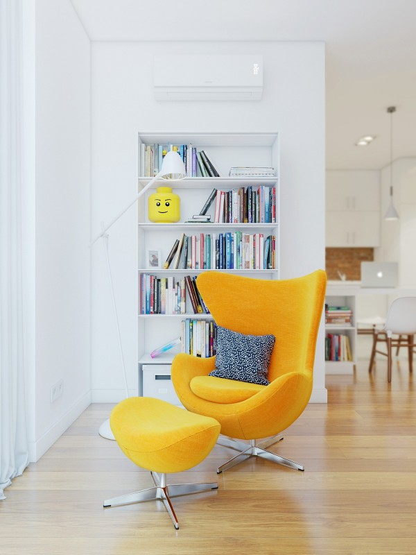 yellow egg chair