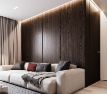 A backdrop of rich dark wood creates more visual drama without adding extraneous decoration.