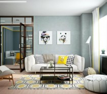 First, let's take a tour through an apartment in Minsk. Olya Berkova visualized this interior style for a young family with an active lifestyle and that intense energy reflects through every detail. Its neutral palette utilizes the blue side of the grayscale spectrum, using its natural contrast value to make the exciting yellow accents stand out even more. It's filled with artwork and fabulous geometric patterns, soft furniture and sharp decoration.