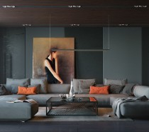 And a look at our last interior – this warm hued painting pops out among the cooler greenish-gray tones that make up this modernistic living room.