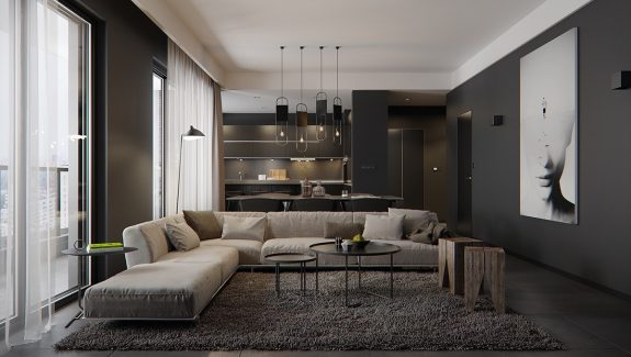 Spacious-Looking, One Bedroom Apartment With Dark Wood Accents
