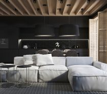 modern-home-with-black-walls-210x185 Black, White & Beige Apartment For The Fashionista
