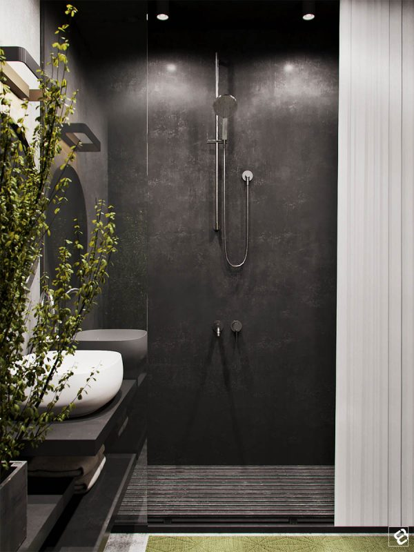 Superior A Black Shower With Wood Slat Floor Perfect Mimics The Pallet Furniture In  The Main Area.
