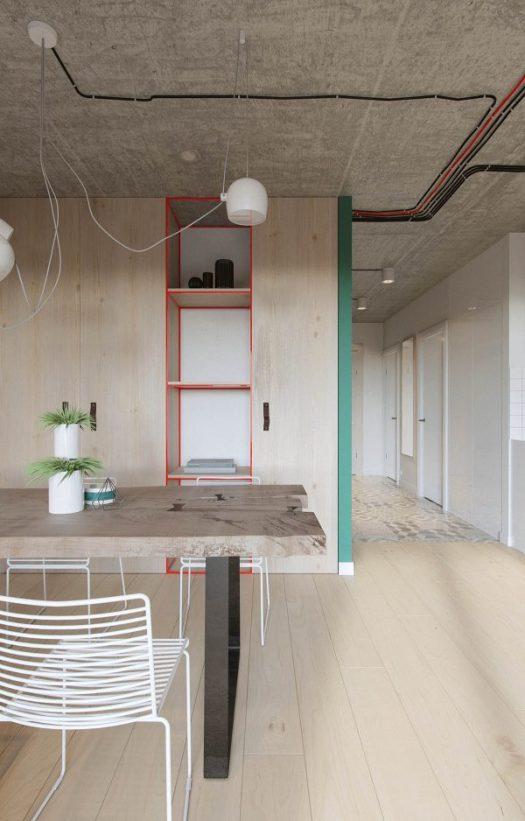 industrial russian interior with quirky colour twists including floor plans mixed sign