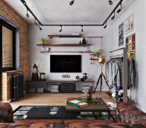 bachelor-living-room-210x185 Three Industrial Style Lofts WIth Natural Accents Upholstery in Victoria