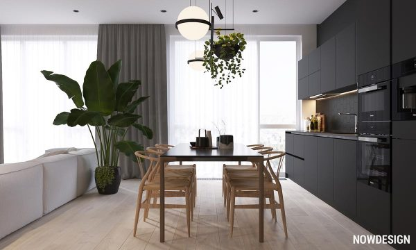 minimalist interior design using white wood and black with green