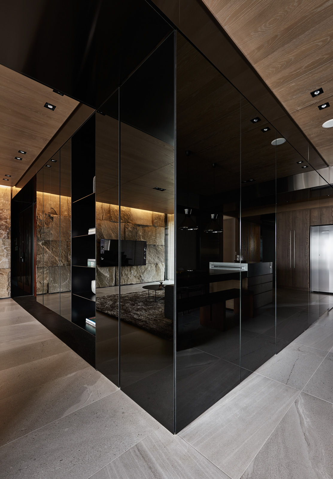 Black Acrylic Glass And Stone Form This Dark And
