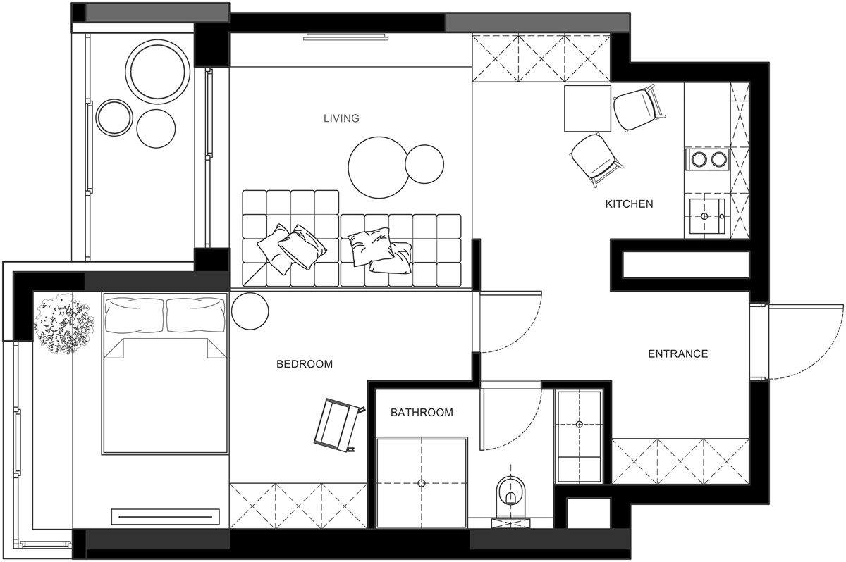 3 One Bedroom Apartments With Floor Plans