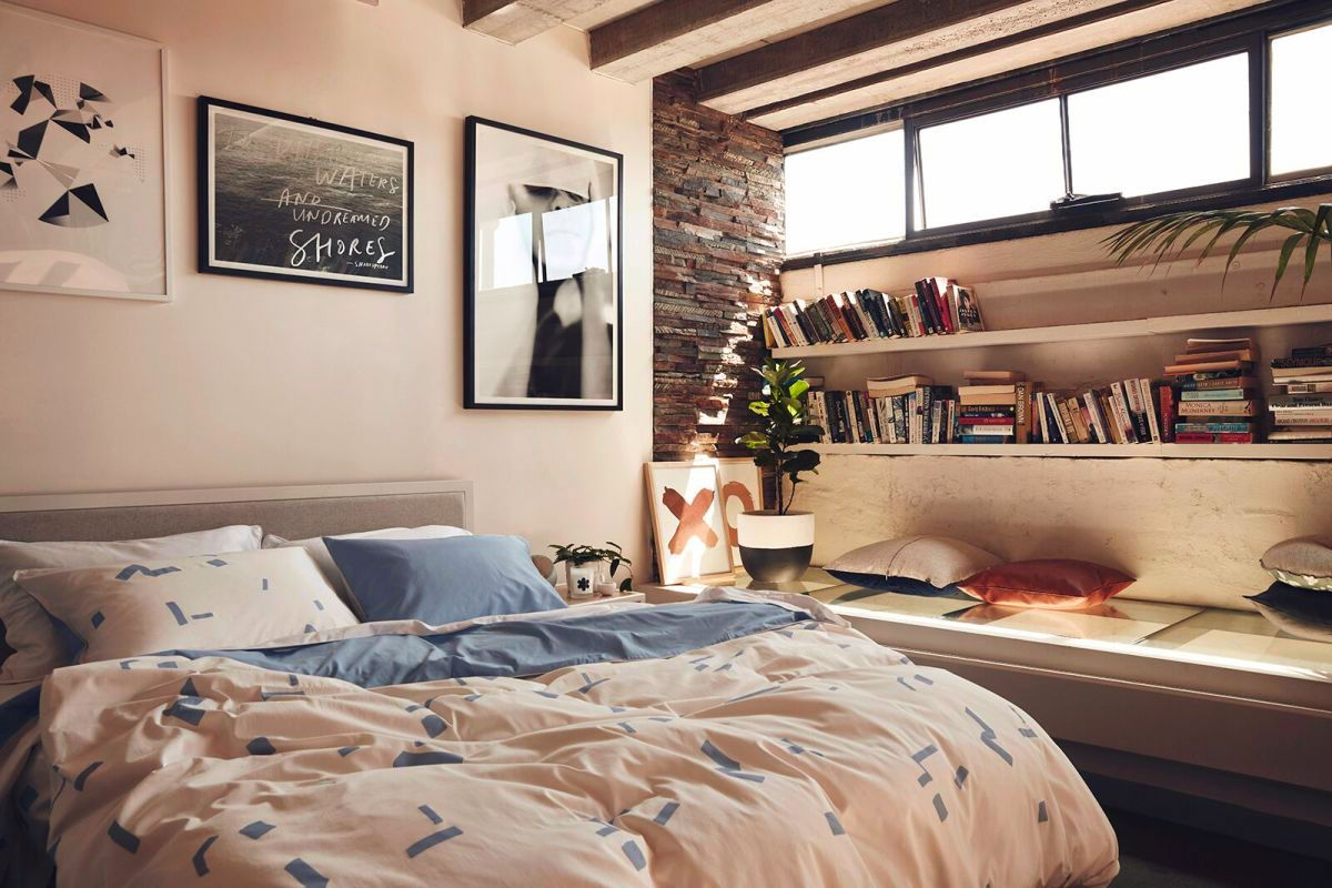 Image result for bedroom with bookshelves