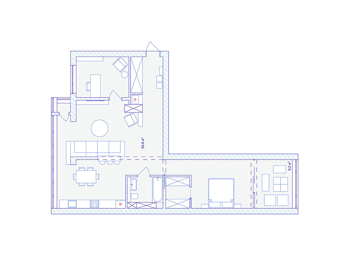 Dark Moody Bachelor Pad Design 2 Single Bedroom L Shaped