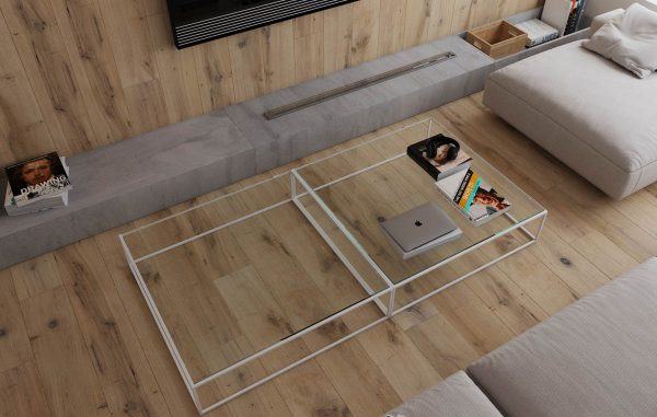This Transparent Modern Coffee Table Design Keeps The Area Looking  Spacious, And Shows Off The Wood Tone Beneath. Below The TV A Concrete  Hearth Brings A ...