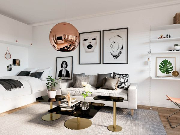 Beneath The Copper Lighting Is A Cluster Of Gold Coffee Tables With Black  Glass Tops At Varying Heights. The Combination Is A Glamorous Look That Goes  Well ...