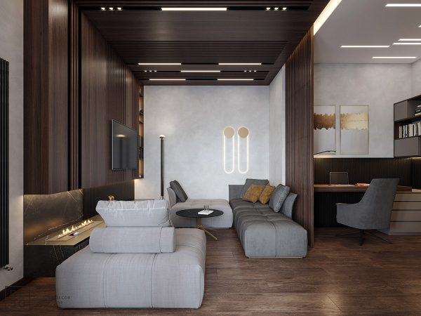 Luxurious Interior With Wood Slat Walls Download Autocad Blocks Drawings Details 3d Psd