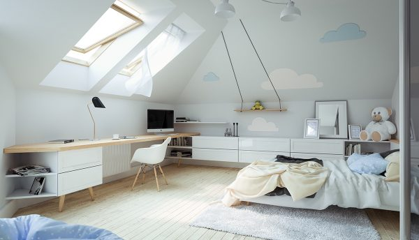Attic-bedroom-skylights-600x344 Indoor Skylights: 37 Beautiful Examples To Tempt You To Have One For Yourself