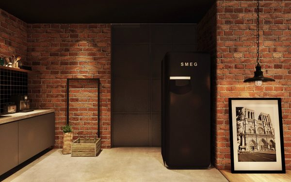 Black-fridge-600x375 Three Industrial Style Lofts WIth Natural Accents