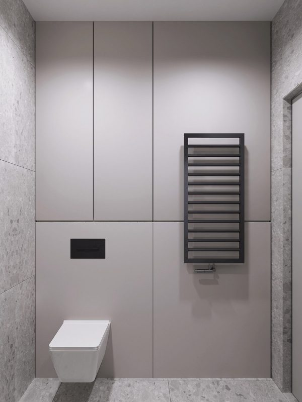 Black-towel-heater-600x800 Black, White & Beige Apartment For The Fashionista