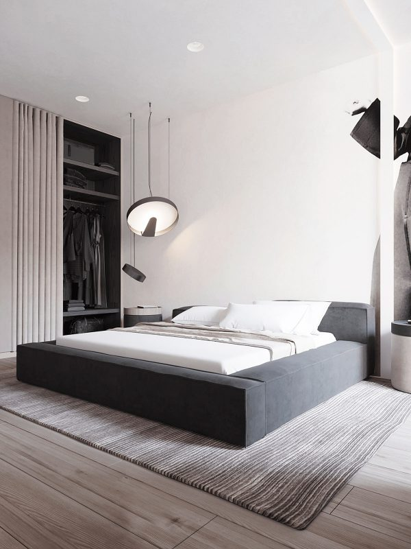 Fabric-platform-bed-600x800 Black, White & Beige Apartment For The Fashionista