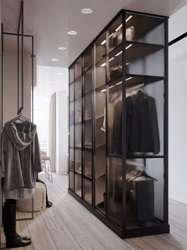 Glass-closet-1-600x800 Black, White & Beige Apartment For The Fashionista
