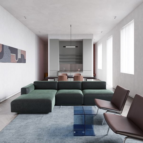 Minimalist-and-modern-open-floor-plan-600x600 Modern Minimalist Apartment Designs Under 75 Square Meters (808 Square Feet) Upholstery in Victoria
