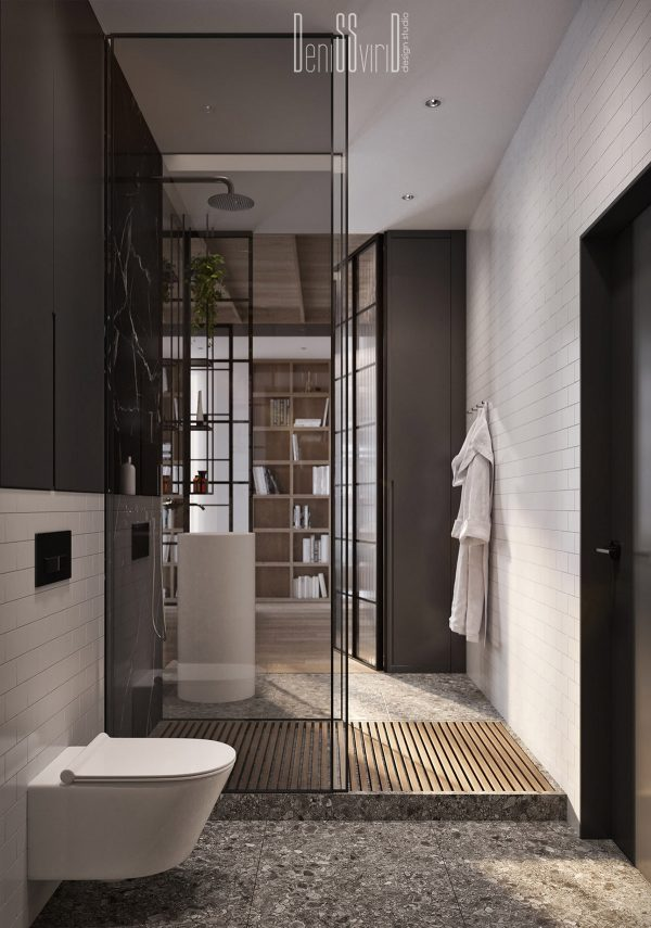 Shower-enclosure-600x855 Three Industrial Style Lofts WIth Natural Accents Upholstery in Victoria