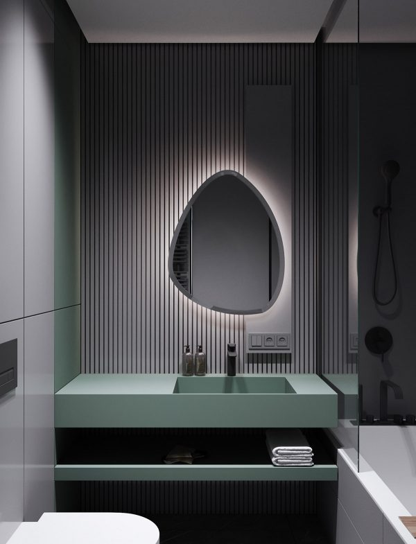 backlit-mirror-over-bathroom-vanity-600x785 Modern Minimalist Apartment Designs Under 75 Square Meters (808 Square Feet) Upholstery in Victoria