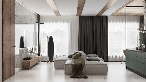 bright-contemporary-apartment-600x338 Modern Minimalist Apartment Designs Under 75 Square Meters (808 Square Feet)
