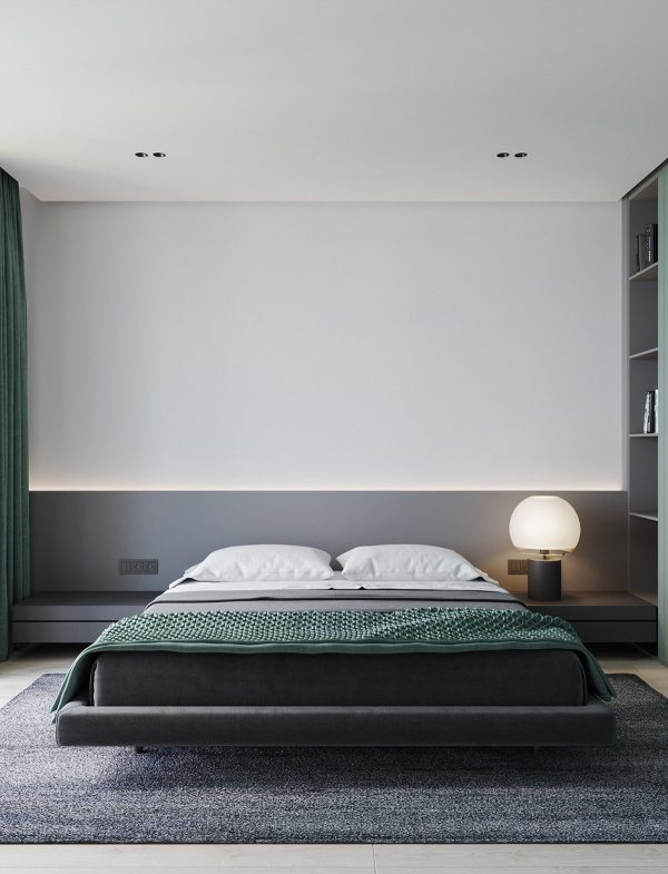 floating-platform-bed-in-minimalist-bedroom-600x785 Modern Minimalist Apartment Designs Under 75 Square Meters (808 Square Feet) Upholstery in Victoria