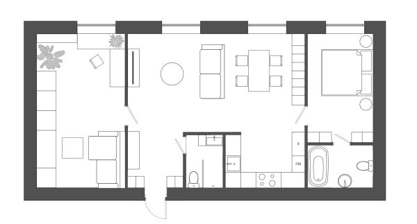 floor-plan-for-modern-minimalist-apartment-600x323 Modern Minimalist Apartment Designs Under 75 Square Meters (808 Square Feet) Upholstery in Victoria