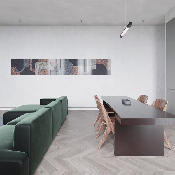 herringbone-flooring-in-dining-and-living-area-600x600 Modern Minimalist Apartment Designs Under 75 Square Meters (808 Square Feet) Upholstery in Victoria