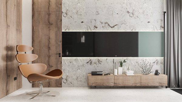 marble-accent-wall-600x338 Modern Minimalist Apartment Designs Under 75 Square Meters (808 Square Feet) Upholstery in Victoria