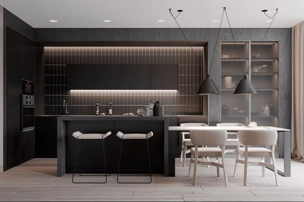 minimalist-dining-room-600x400 Black, White & Beige Apartment For The Fashionista