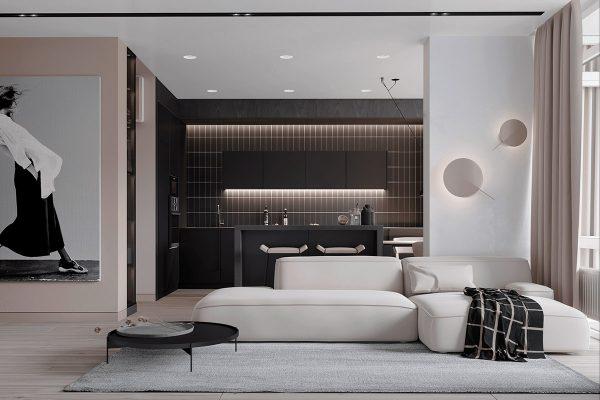 minimalist-living-room-600x400 Black, White & Beige Apartment For The Fashionista