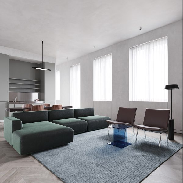 minimalist-living-room-with-green-sectional-and-accent-chairs-600x600 Modern Minimalist Apartment Designs Under 75 Square Meters (808 Square Feet) Upholstery in Victoria