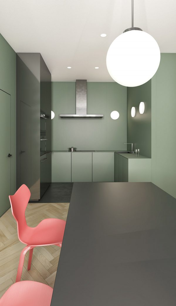 pink-and-green-dining-area-with-globe-pendant-light-600x1044 Modern Minimalist Apartment Designs Under 75 Square Meters (808 Square Feet) Upholstery in Victoria