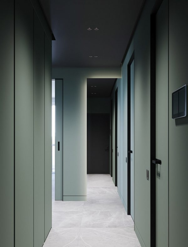 sage-green-painted-hallway-600x785 Modern Minimalist Apartment Designs Under 75 Square Meters (808 Square Feet) Upholstery in Victoria
