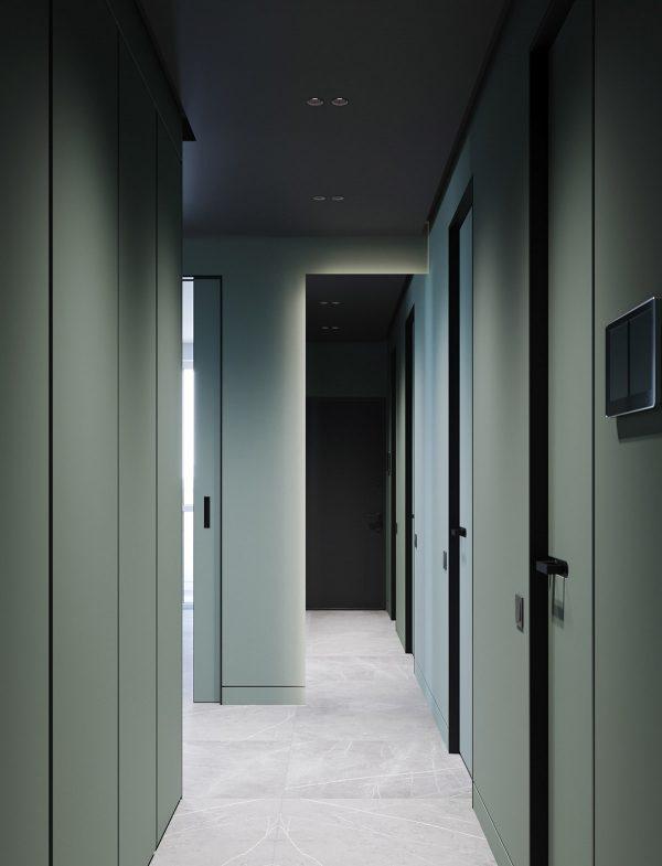 sage-green-painted-hallway-600x785 Modern Minimalist Apartment Designs Under 75 Square Meters (808 Square Feet)