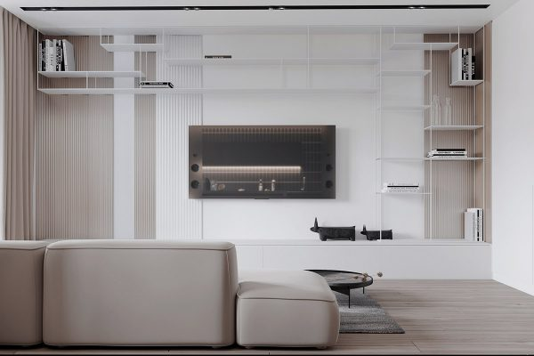 tv-wall-decor-1-600x400 Black, White & Beige Apartment For The Fashionista